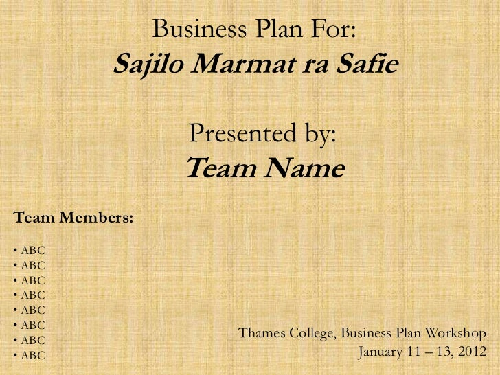 Business Plan For:          Sajilo Marmat ra Safie                   Presented by:                  Team NameTeam Members:...