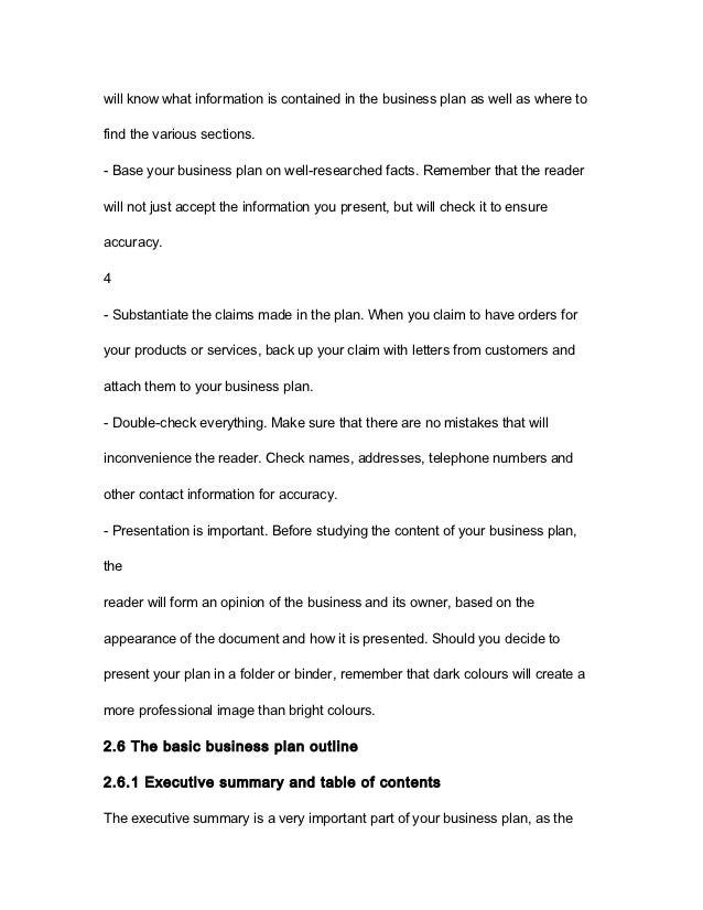 format for business plans