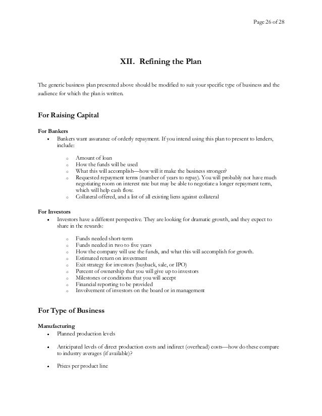 Business Plan Template - Generic business plan template