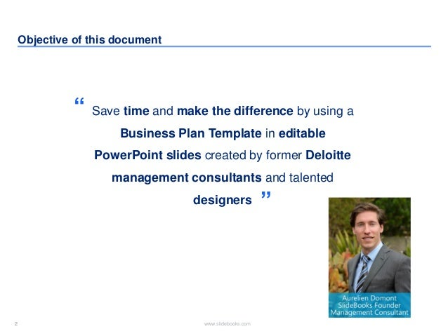Business Plan Template By Former Deloitte Management Consultants; 2.