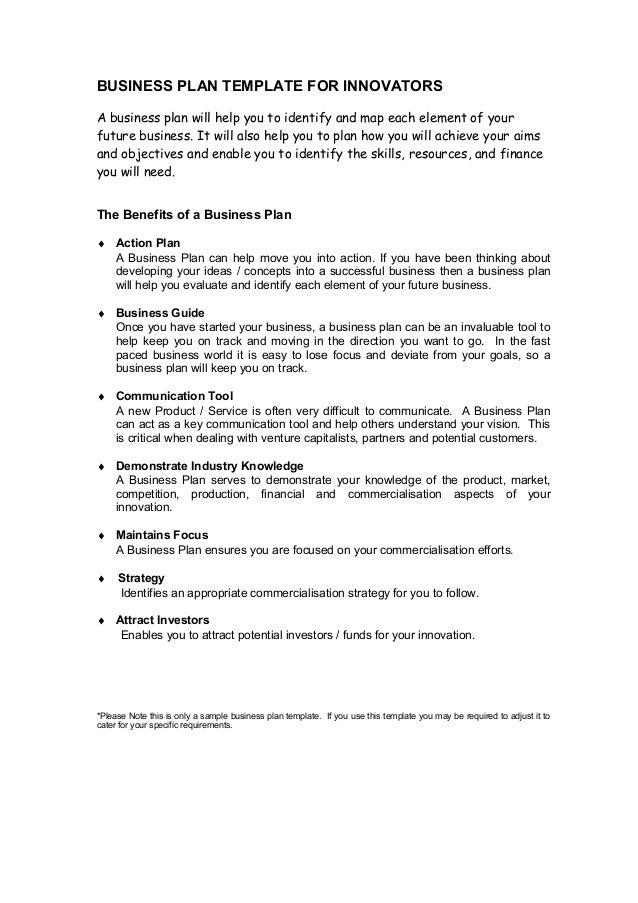 writing a business plan template
