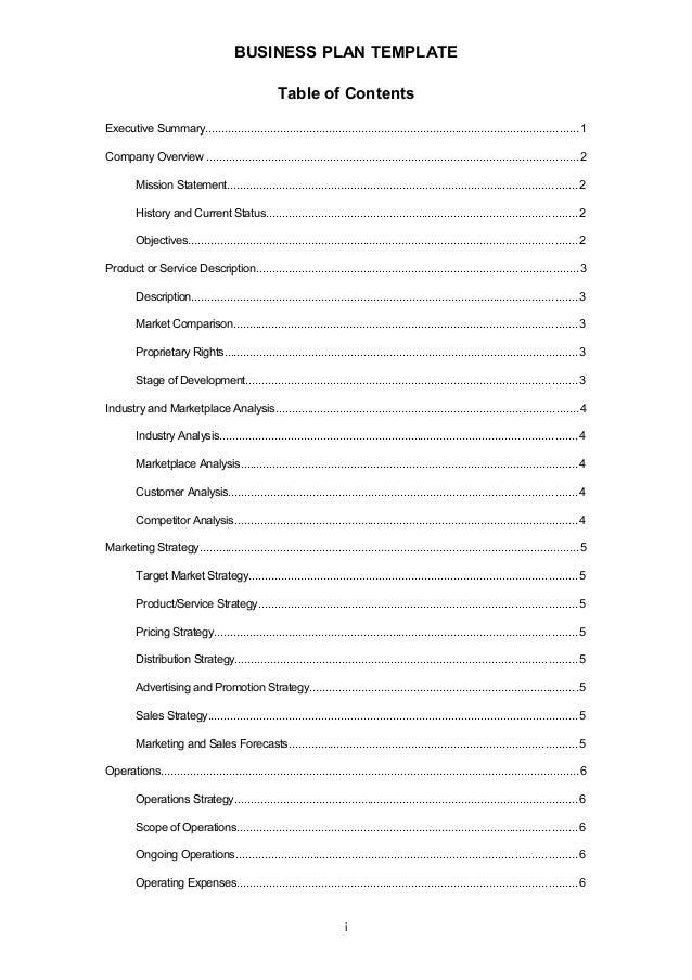 Business plan template business plan template table of contents friedricerecipe Images
