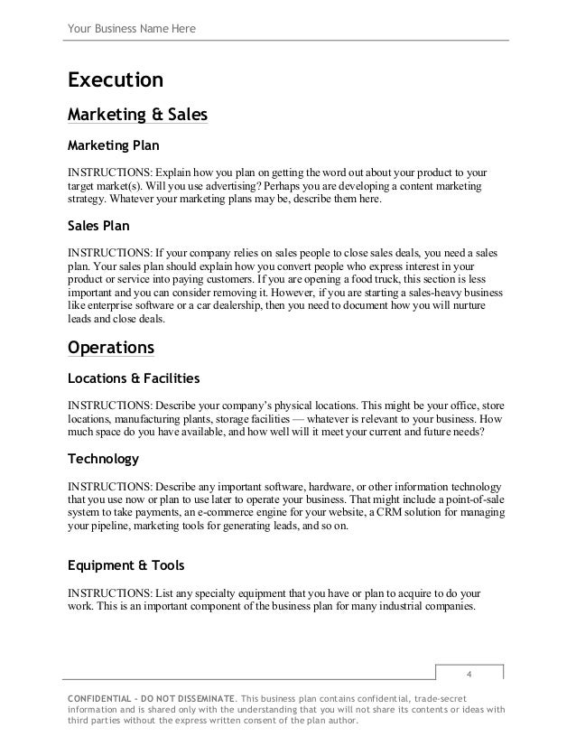 Business plan template free download on bplans 8 your business wajeb Gallery