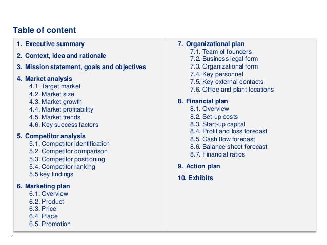 Simple business plan template by ex mckinsey consultants flashek