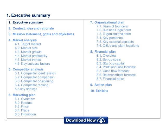 Simple business plan template by ex mckinsey consultants exhibits 3 flashek