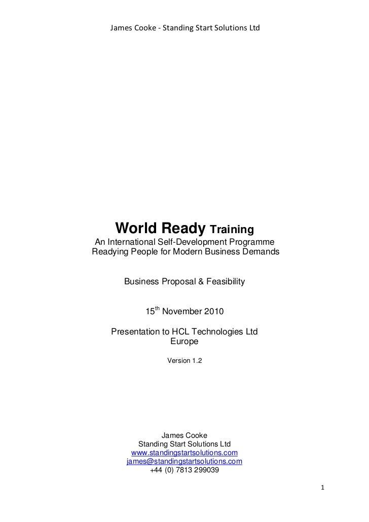 James Cooke - Standing Start Solutions Ltd     World Ready TrainingAn International Self-Development ProgrammeReadying Peo...
