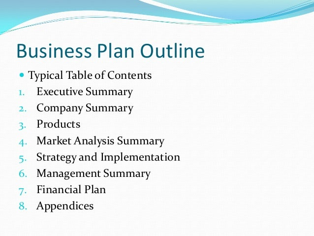 Business plan breakdown