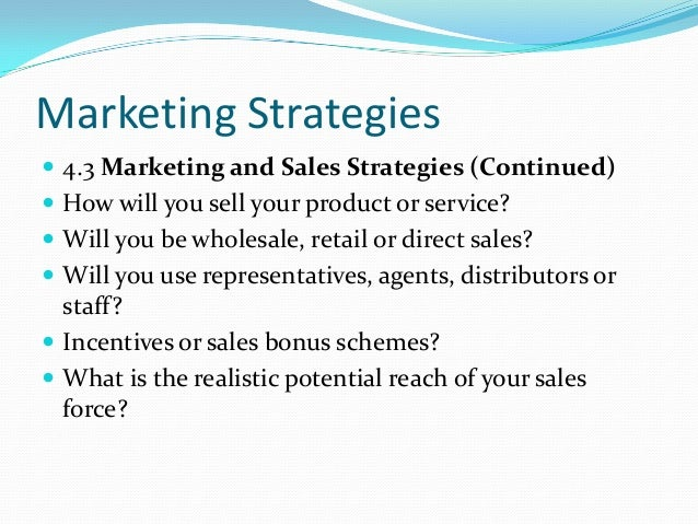 business plan sales strategy