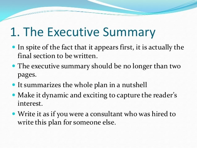 Business plan writing power point – Business Executive Summary Template