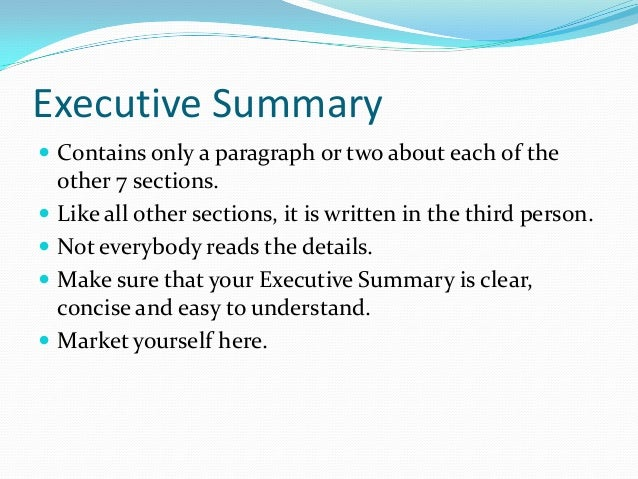 Executive Summary ...  Executive Summary Outline Examples Format