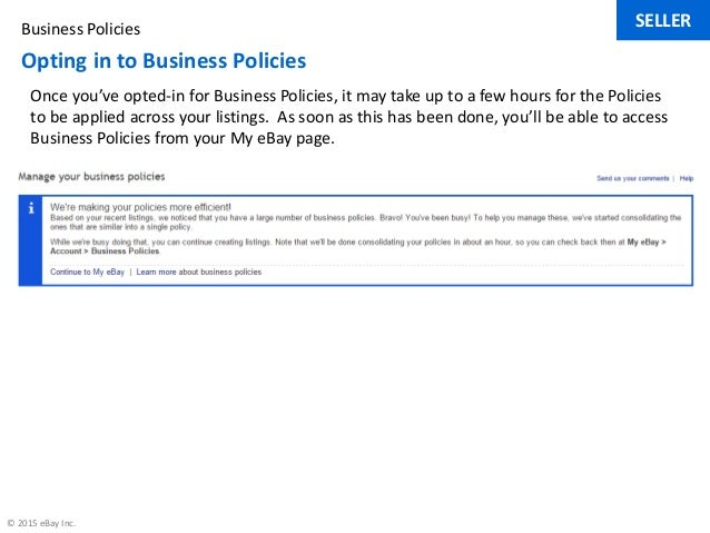 Using Business Policies On Ebay Com Au