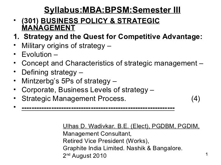 Business policy & Strategic Management for MBA
