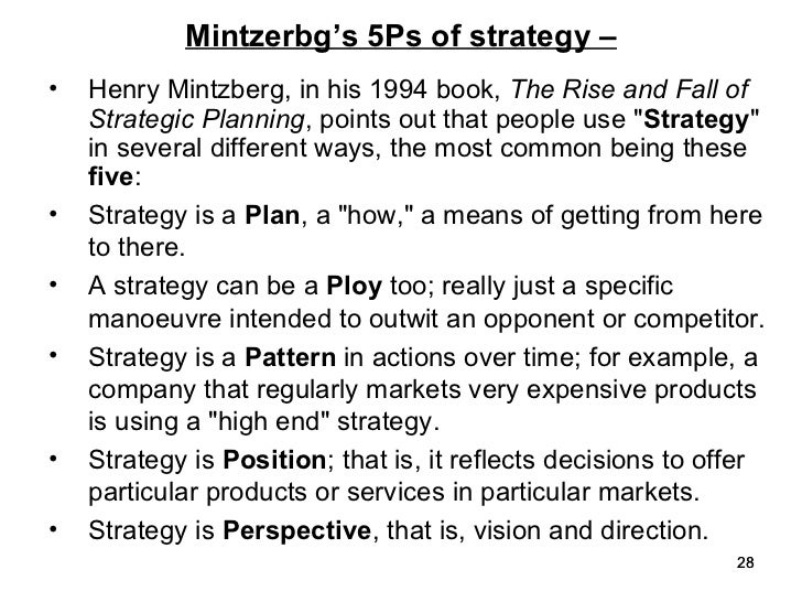 the strategy concept i five ps for strategy