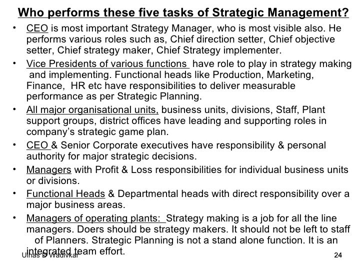 business policy strategic management notes   24 who performs these five tasks of strategic management