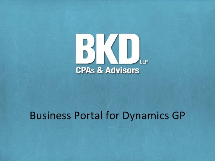 Business Portal for Dynamics GP