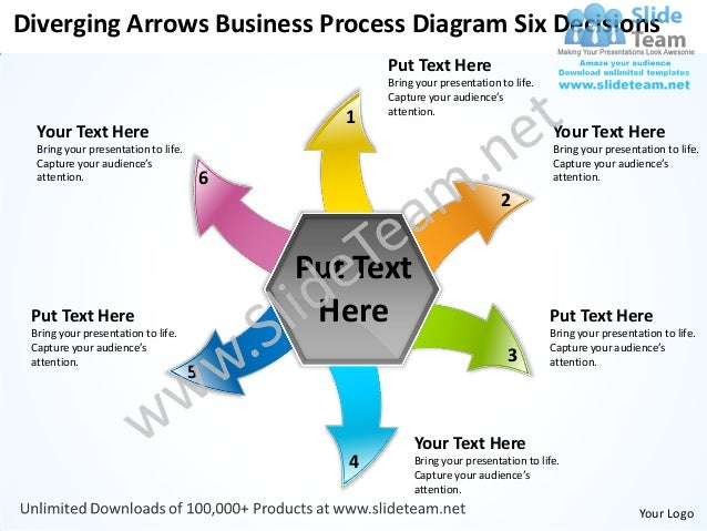 Diverging Arrows Business Process Diagram Six Decisions                                                    Put Text Here  ...