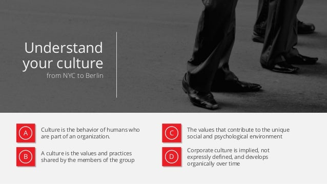 Culture is the behavior of humans who are part of an organization. A culture is the values and practices shared by the mem...