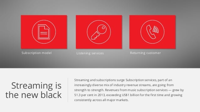 Subscription model Listening services Returning customer Streaming is the new black Streaming and subscriptions surge Subs...