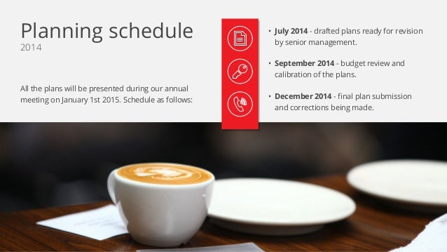 2014 All the plans will be presented during our annual meeting on January 1st 2015. Schedule as follows: • July 2014 - dra...