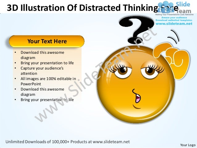 3D Illustration Of Distracted Thinking Face        Your Text Here •   Download this awesome     diagram •   Bring your pre...