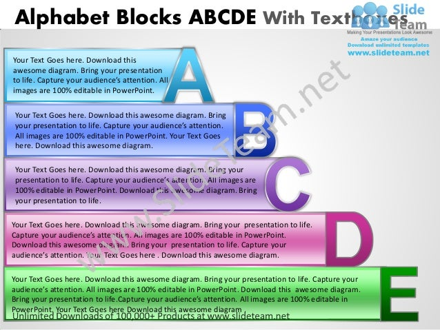 Business power point templates alphabet blocks abcde with textboxes s alphabet blocks abcde with textboxesyour text goes here download thisawesome diagram ccuart Images