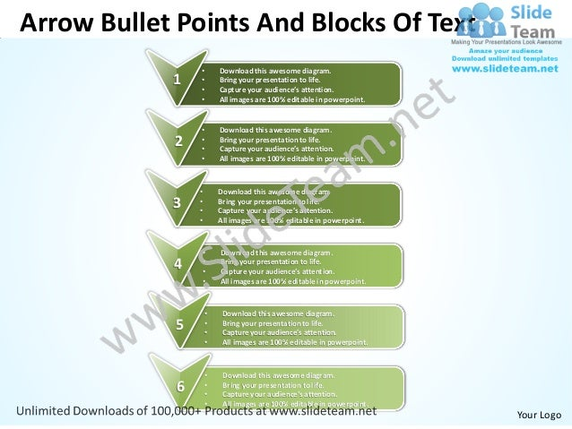 Arrow Bullet Points And Blocks Of Text                 •       Download this awesome diagram.            1    •           ...