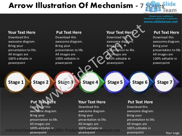 Arrow Illustration Of Mechanism - 7 StagesYour Text Here                     Put Text Here                        Your Tex...