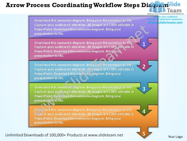 Business Power Point Templates Arrow Process Coordinating Workflow St