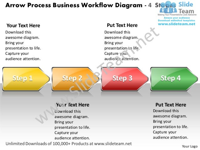 Business power point templates arrow process workflow diagram 4 stage arrow process business workflow diagram 4 stagesyour text here ccuart Choice Image