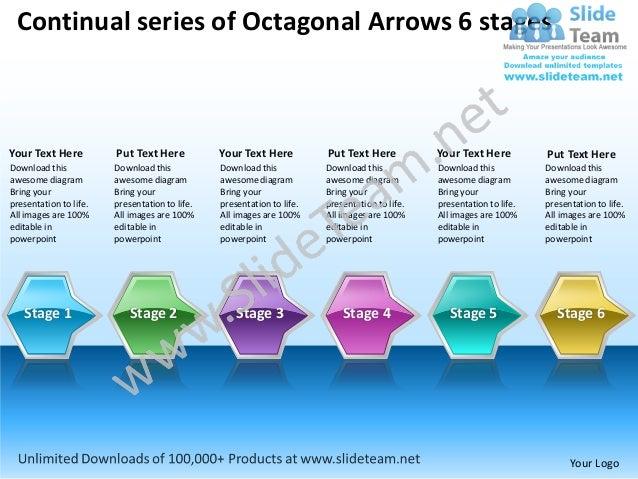 Continual series of Octagonal Arrows 6 stagesYour Text Here          Put Text Here           Your Text Here          Put T...