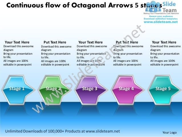 Continuous flow of Octagonal Arrows 5 stages Your Text Here            Put Text Here             Your Text Here           ...