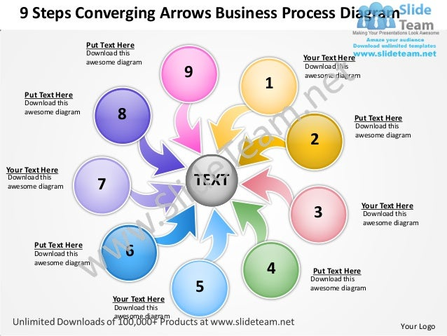 9 Steps Converging Arrows Business Process Diagram                       Put Text Here                       Download this...