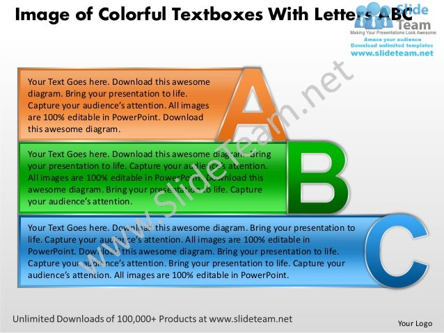 Image of Colorful Textboxes With Letters ABC Your Text Goes here. Download this awesome diagram. Bring your presentation t...