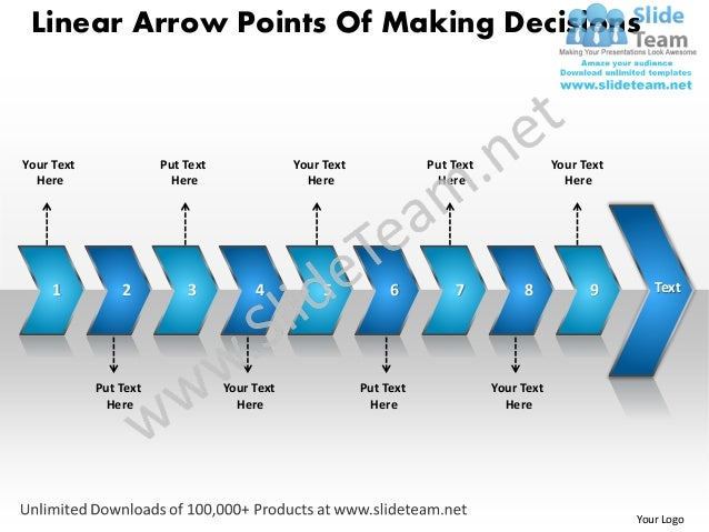 Linear Arrow Points Of Making DecisionsYour Text              Put Text               Your Text              Put Text      ...