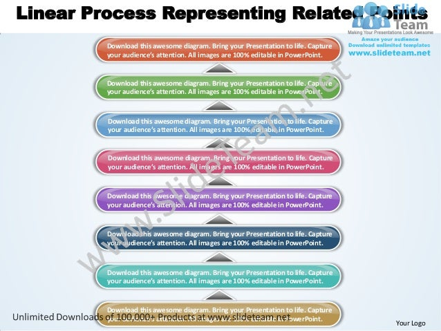 Linear Process Representing Related Points         Download this awesome diagram. Bring your Presentation to life. Capture...