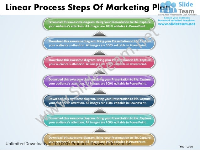 Linear Process Steps Of Marketing Plan         Download this awesome diagram. Bring your Presentation to life. Capture    ...