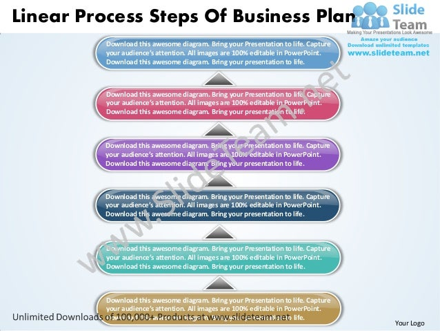 Linear Process Steps Of Business Plan          Download this awesome diagram. Bring your Presentation to life. Capture    ...