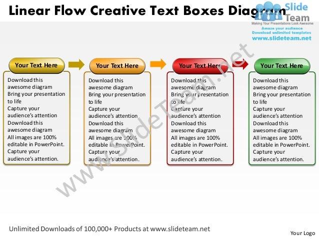 Linear Flow Creative Text Boxes Diagram   Your Text Here            Your Text Here            Your Text Here            Yo...