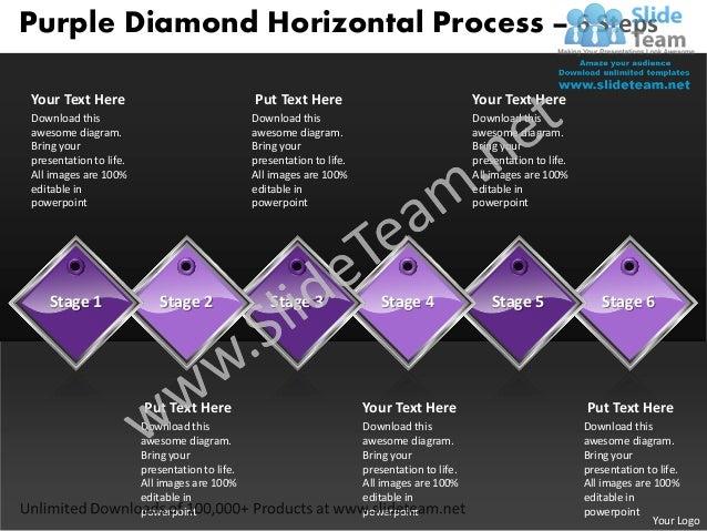 Purple Diamond Horizontal Process – 6 StepsYour Text Here                                  Put Text Here                  ...