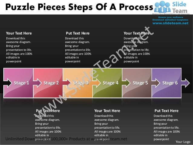 Puzzle Pieces Steps Of A ProcessYour Text Here                                  Put Text Here                             ...