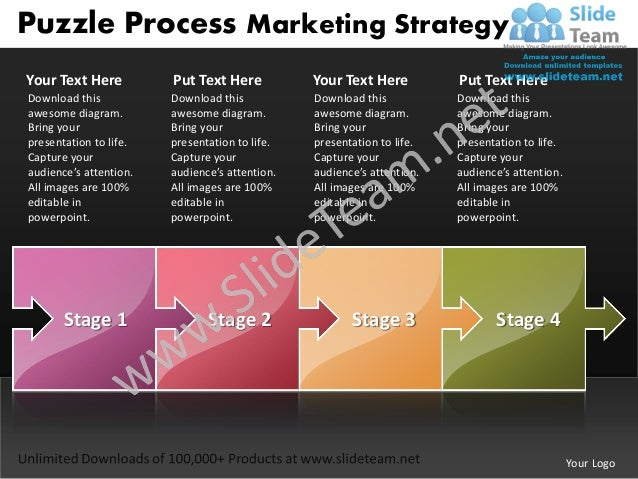 Puzzle Process Marketing StrategyYour Text Here          Put Text Here           Your Text Here          Put Text HereDown...