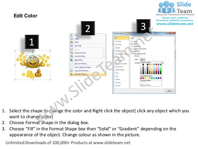Edit Color                                         2                           3             11. Select the shape to chang...