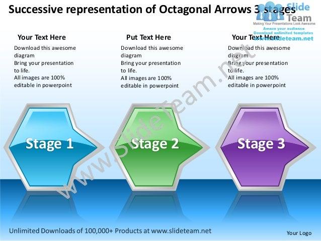 Successive representation of Octagonal Arrows 3 stages  Your Text Here             Put Text Here            Your Text Here...