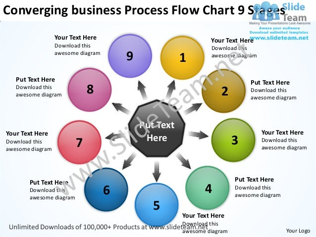 Business Powerpoint Theme Process Flow Chart 9 Stages