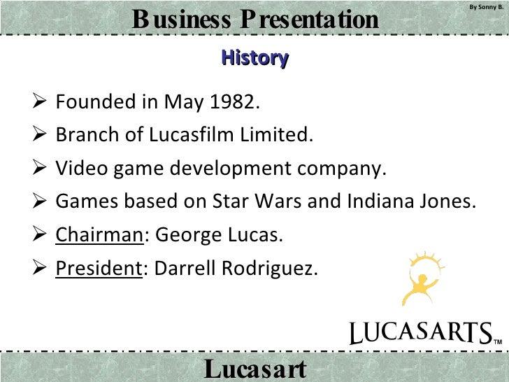 History <ul><li>Founded in May 1982. </li></ul><ul><li>Branch of Lucasfilm Limited. </li></ul><ul><li>Video game developme...