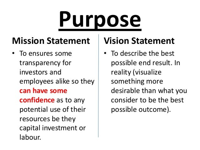 great vision and mission statements