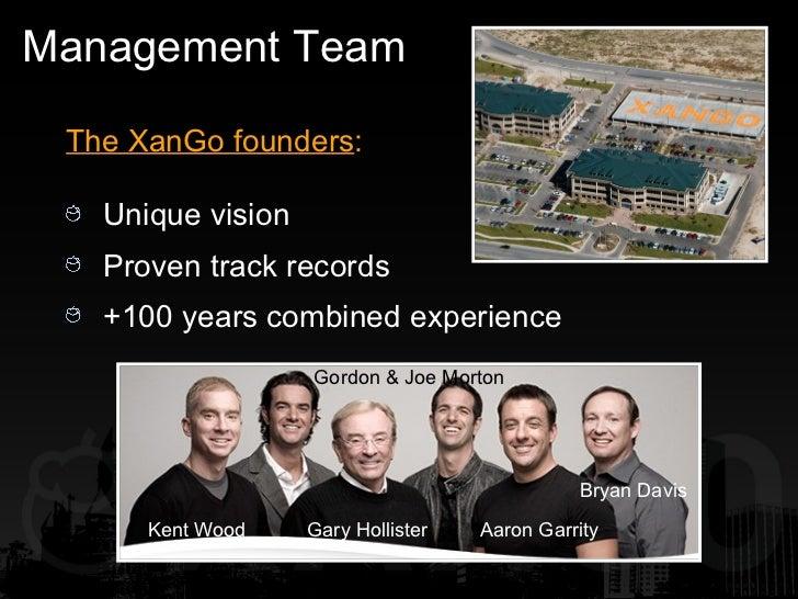 Management Team <ul><li>The XanGo founders : </li></ul><ul><li>Unique vision </li></ul><ul><li>Proven track records </li><...