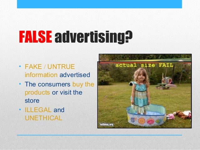 The false representation of advertising in the media