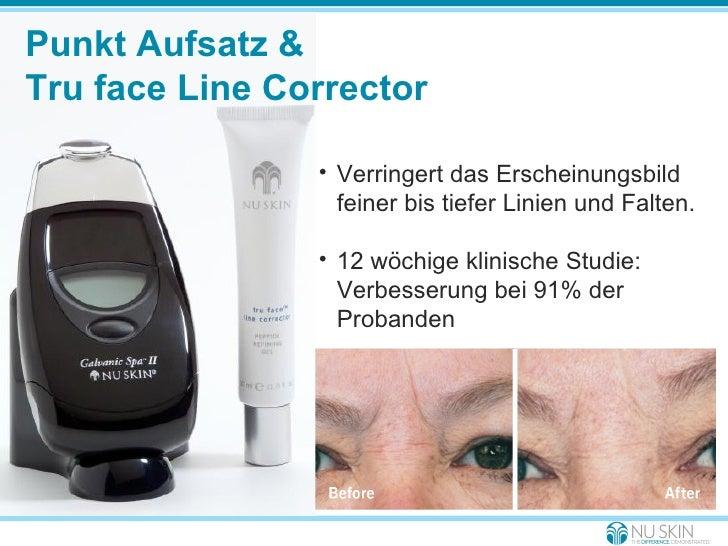 Punkt Aufsatz &  Tru face Line Corrector <ul><li>Verringert das Erscheinungsbild feiner bis tiefer Linien und Falten. </li...