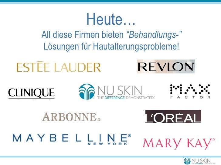 """Heute… All diese Firmen bieten  """"Behandlungs-"""" Lösungen für Hautalterungsprobleme!"""